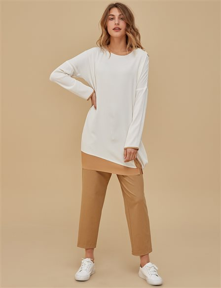 Ruched Tunic With Button Detailed A9 21142A Ecru