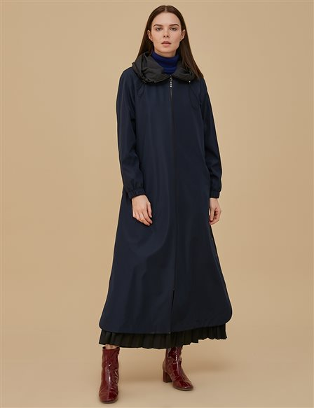 Collar Detailed Coat With Hood A9 25037 Navy