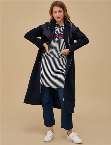 Quilted Coat A9 24013 Navy