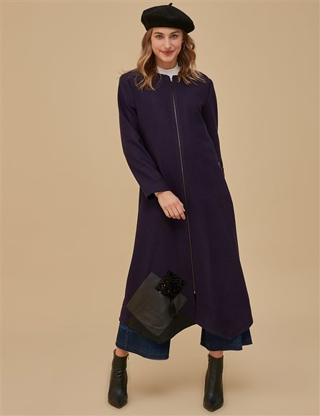 Sleeve Detailed Overcoat A9 25083 Purple