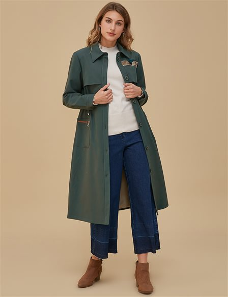 KYR Detailed Coat With Button A9 74005 Green