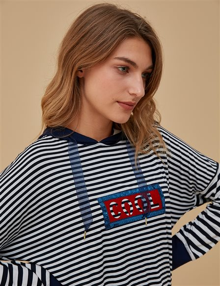 KYR Striped Combed Cotton Tunic A9 81015 Navy