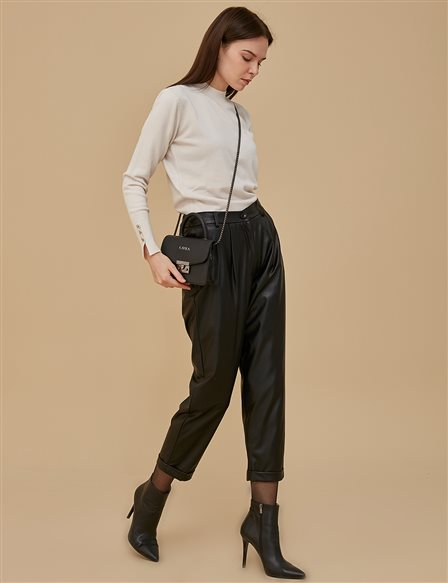 Artificial Leather Pants A9 19131 Black