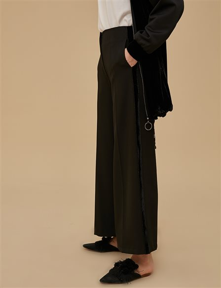 Wide Leg Pants With Velvet Stripe A9 19056 Black