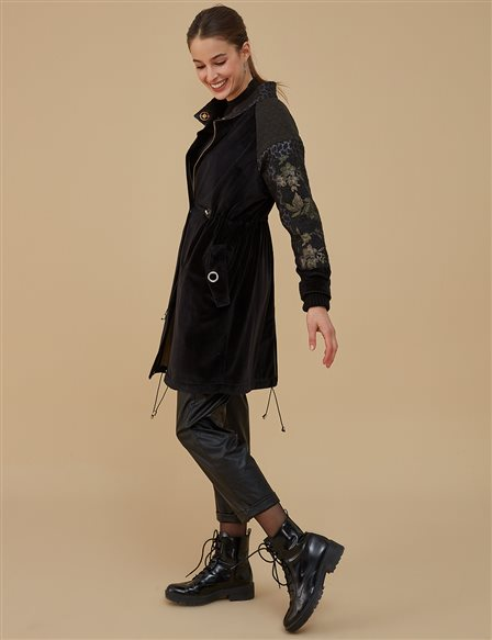 Embroidery Detailed Coat A9 14013 Black