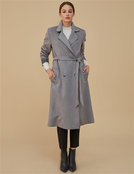 Coat With Belt A9 14072 Grey