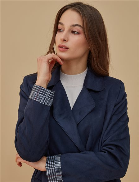 Coat With Belt A9 14072 Navy