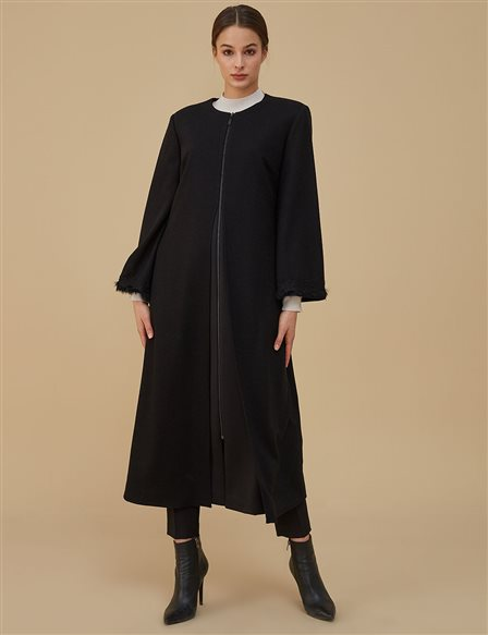 Sleeve Detailed Coat A9 17060 Black