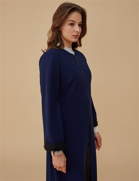 Sleeve Detailed Coat A9 17060 Saxe
