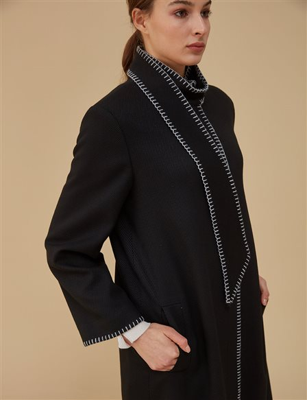 Collar Detailed Coat A9 17076 Black