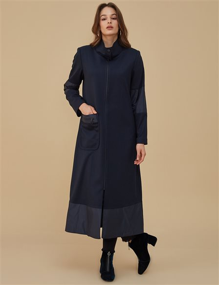 Pocket Detailed Coat With Zipper A9 17082 Navy