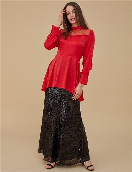 Tulle Detailed Blouse A9 21199 Red
