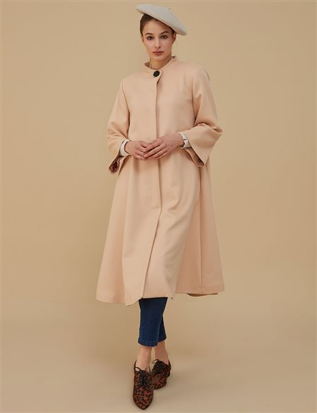 Three Quarter Sleeve Coat A9 18013 Beige