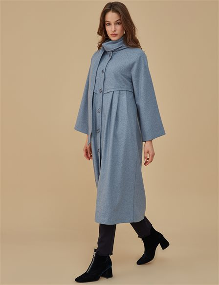 Shawl Collar Coat A9 25097 Blue