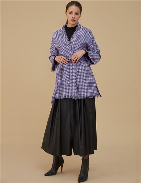 Coat With Fringe Detailed A9 25105 Purple