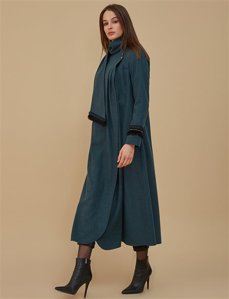 Coat With Fringe Sleeve A9 25110 Petrol