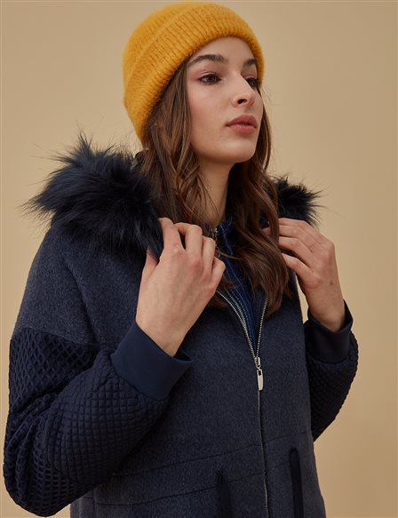 Ruched Coat With Furry Detail A9 77007 Navy