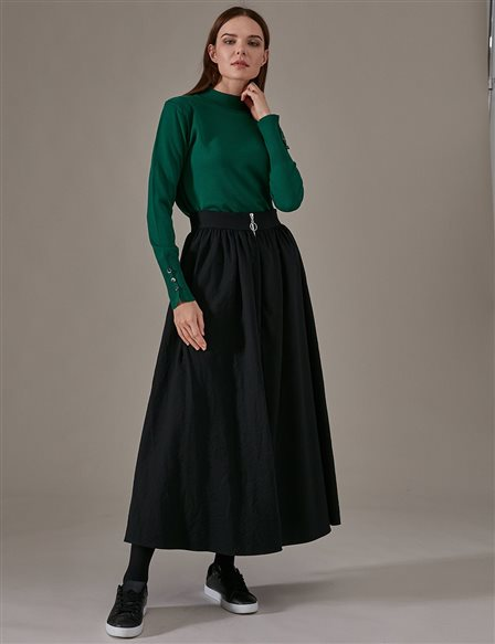 KYR High Waist Skirt With Zipper A9 72005 Black