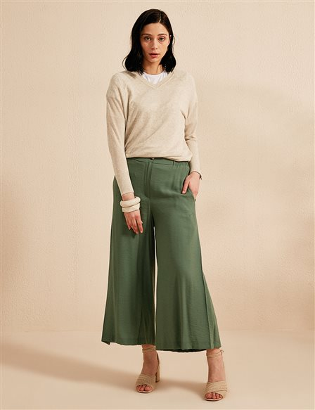 KYR Wide Leg Oversize Pants B20 79004 Green