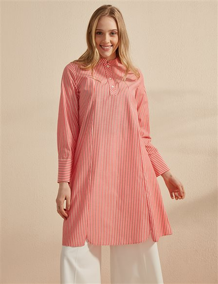 KYR Striped Grandad Collar Tunic B20 81010 Pomegranate