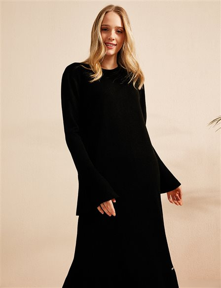 Frill Detailed Knitwear Dress B20 TRK02 Black