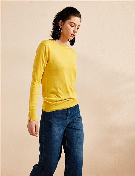 Button Detailed Knitwear Blouse B20 TRK05 Yellow