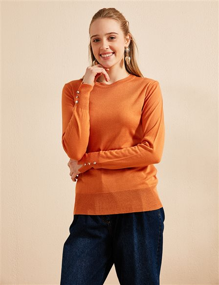 Button Detailed Knitwear Blouse B20 TRK05 Orange