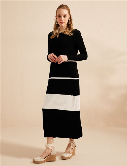 Color Detailed Knitwear Dress B20 TRK13 Black