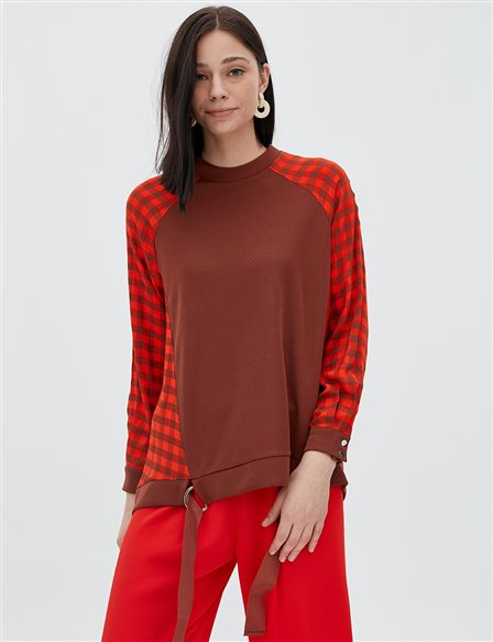 Checkered Blouse B20 10022 Orange