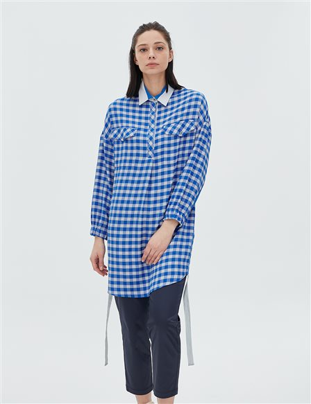 Checked Tunic B20 21063 Blue