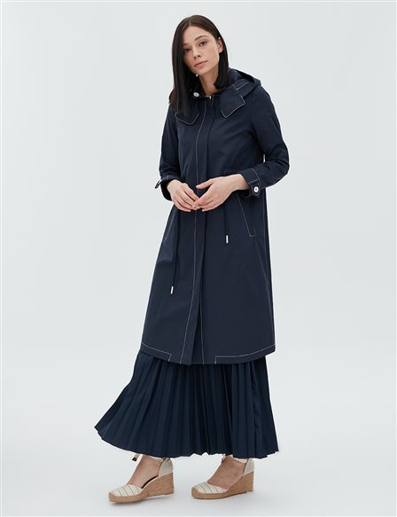 Coat With Hood B20 24007 Navy