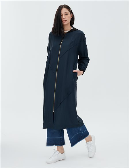 Ruffle Detailed Coat B20 25005 Navy