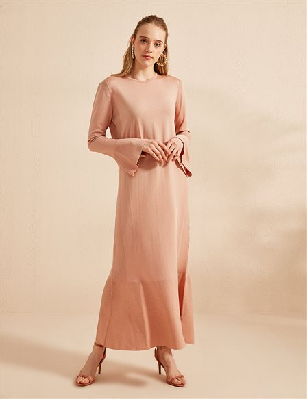 Frill Detailed Knitwear Dress B20 TRK02 Powder