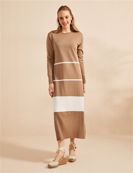 Color Detailed Knitwear Dress B20 TRK13 Beige