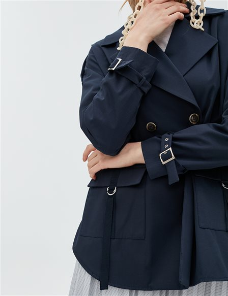 Sleeve Detailed Jacket B20 13011 Navy
