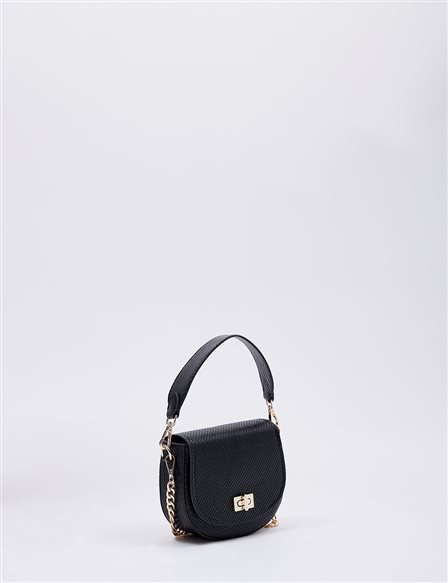 Hand Bag With Metal Detail B20 CNT31 Black