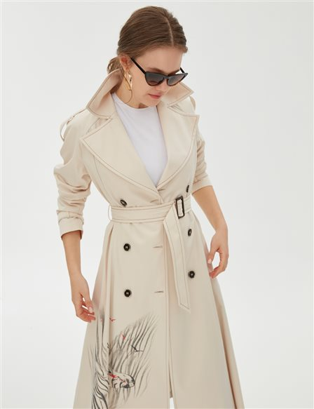 Animal Printed Trenchcoat B20 14023 Cream