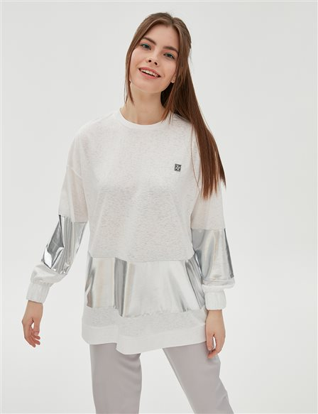 Silver Detailed Sweatshirt B20 10074 White