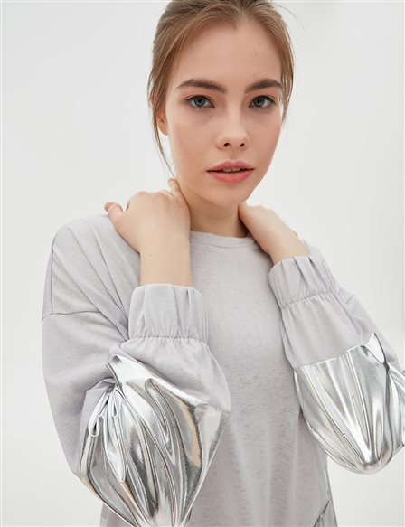Silver Detailed Sweatshirt B20 10074 Grey
