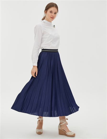 Elastic Pleated Skirt B20 12007 Navy
