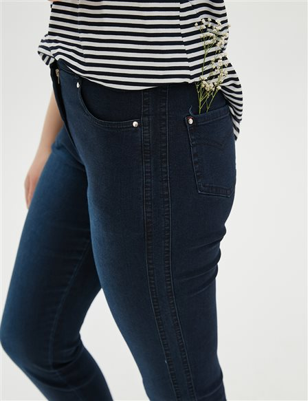 Fringe Skinny Leg Denim Pants B20 19026 Navy