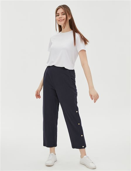 Leg Detailed Pants B20 19044 Navy
