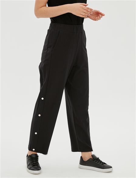 Leg Detailed Pants B20 19044 Black