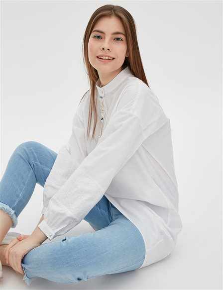 Grandad Collar Tunic B20 21019 White