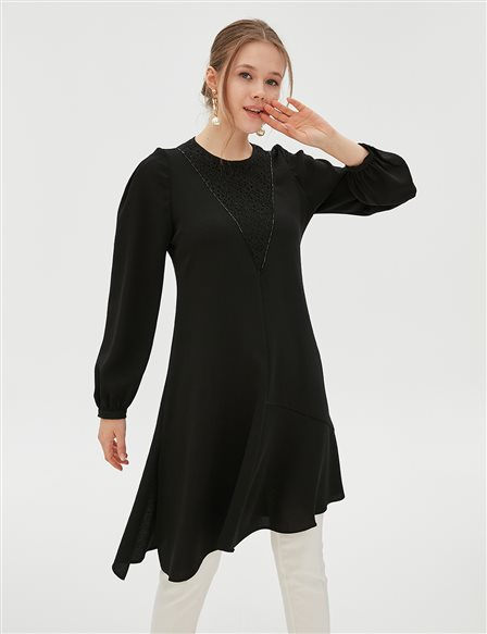Lace Detailed Asymmetric Tunic B20 21072 Black