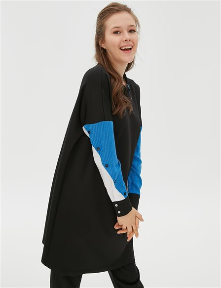 Colorful Sleeve Sweatshirt B20 21069 Black