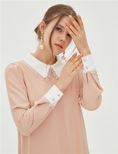 Lace Collar Tunic B20 21078 Light Pink