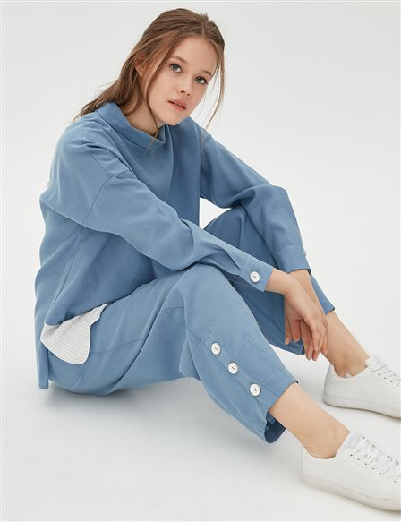 Button Detailed Oversize Suit B20 16008 Blue