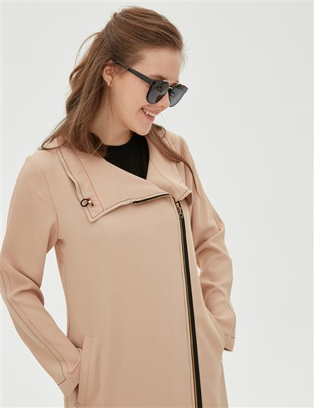 Zipper Detailed Coat B20 25028 Beige