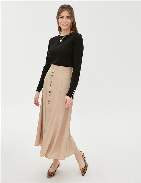 KYR Skirt With Button Details B20 72009 Cream